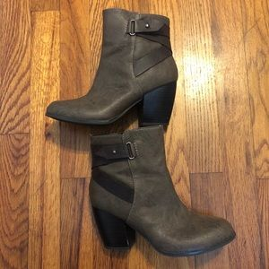 Gray/ brown booties